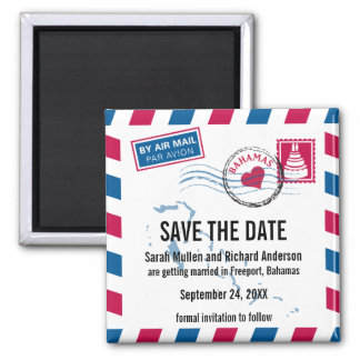 Bahamas Air Mail Wedding Save the Date 2 Inch Square Magnet