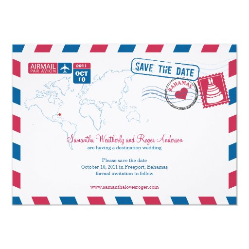 Bahamas Air Mail Wedding Save The Date 5x7 Paper Invitation Card