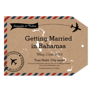 Bahamas Airmail Kraft Luggage Tag Save The Dates Card