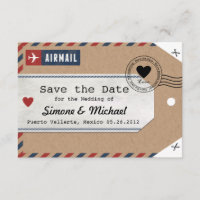 Bahamas Airmail Luggage Tag Save the Date with Map