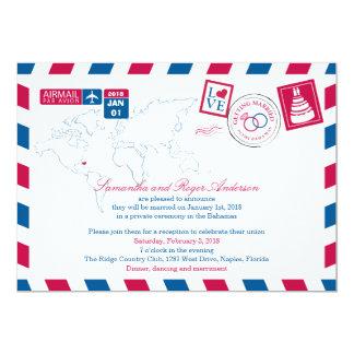 Bahamas Airmail Post Wedding Reception Card