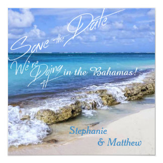 BAHAMAS BEACH SHORE Wedding Save the Date Card