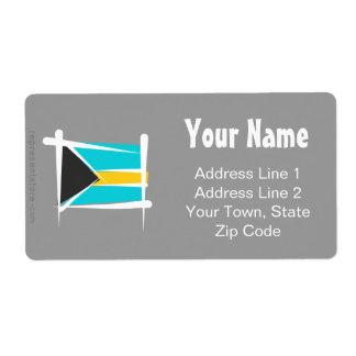 Bahamas Brush Flag Shipping Label