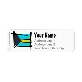 Bahamas Brush Flag Return Address Label