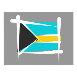 Bahamas Brush Flag Postcard