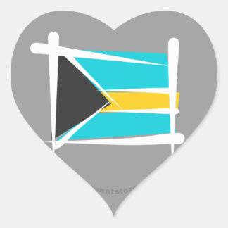 Bahamas Brush Flag Heart Sticker