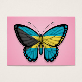 Bahamas Butterfly Flag on Pink Business Card