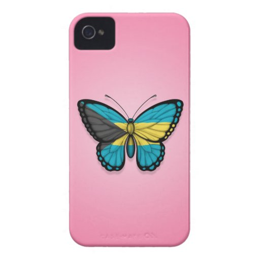 Bahamas Butterfly Flag on Pink iPhone 4 Case-Mate Cases
