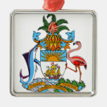 Bahamas Coat of Arms Square Metal Christmas Ornament