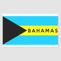 bahamas country flag symbol name text rectangular sticker