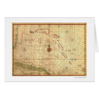 Bahamas & Cuba Map 1650 Greeting Card