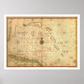Bahamas & Cuba Map 1650 Print