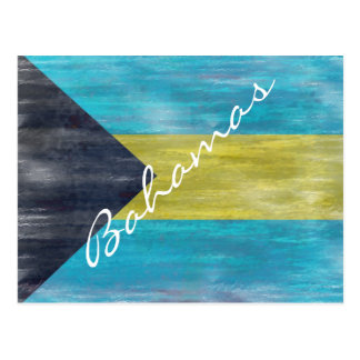 Bahamas distressed flag postcard