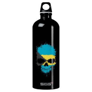 Bahamas Dripping Splatter Skull Water Bottle
