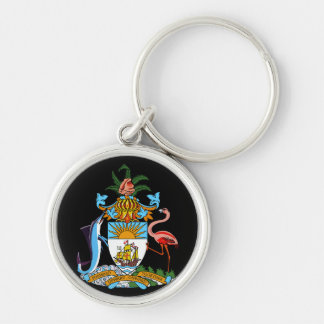 bahamas emblem Silver-Colored round keychain