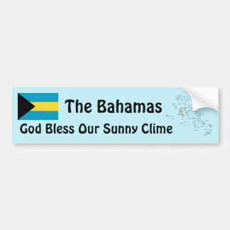 Bahamas Flag and Map Bumper Sticker