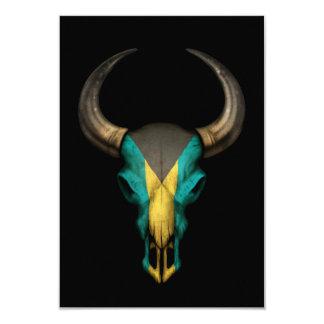 Bahamas Flag Bull Skull on Black Card