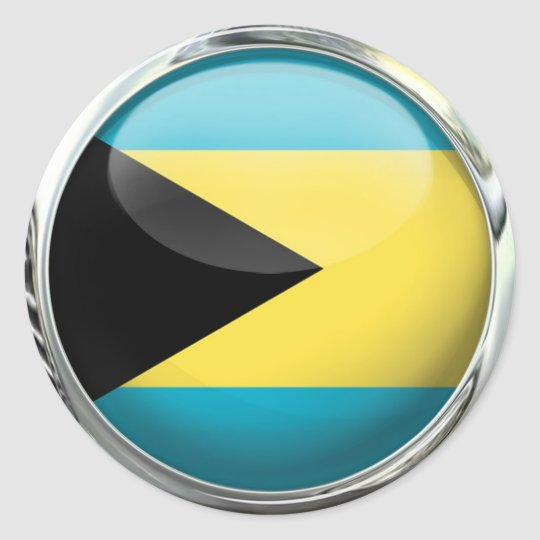 Bahamas Flag Glass Ball Classic Round Sticker