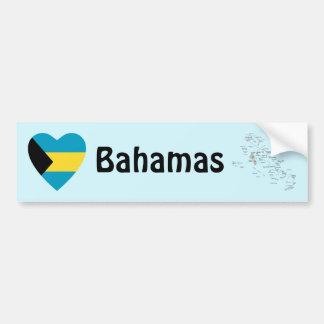 Bahamas Flag Heart + Map Bumper Sticker