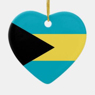 Bahamas Flag Heart Christmas Tree Ornament