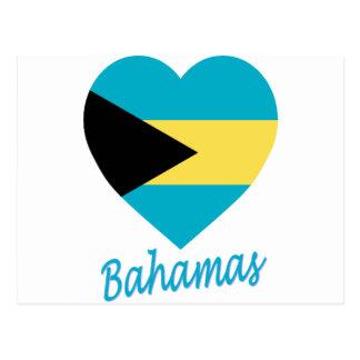 Bahamas Flag Heart Postcard