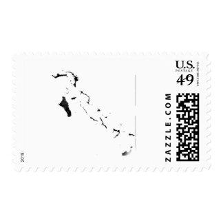Bahamas flag map postage stamps