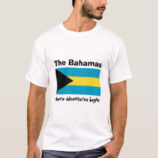Bahamas Flag + Map + Text T-Shirt