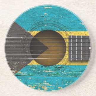 Bahamas Flag on Old Acoustic Guitar Drink Coaster