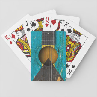 Bahamas Flag on Old Acoustic Guitar Poker Cards