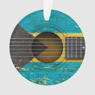 Bahamas Flag on Old Acoustic Guitar Ornament