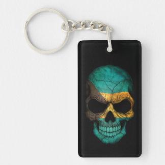 Bahamas Flag Skull on Black Keychain