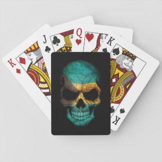 Bahamas Flag Skull on Black Playing Cards