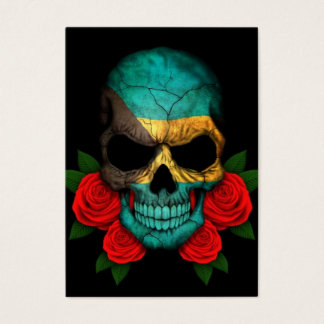 Bahamas Flag Skull with Red Roses Business Card