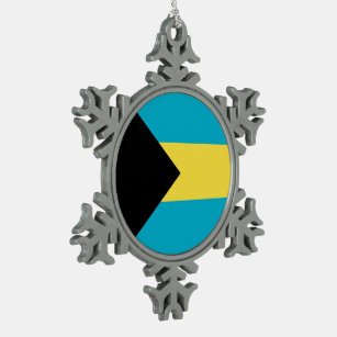 Bahamas Flag Snowflake Pewter Christmas Ornament
