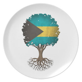 Bahamas Flag Tree of Life Customizable Plates