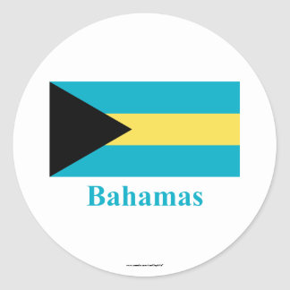Bahamas Flag with Name Classic Round Sticker