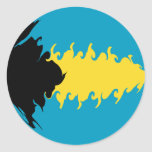 Bahamas Gnarly Flag Classic Round Sticker