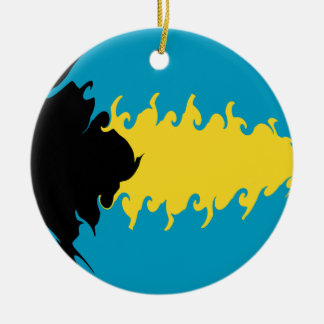 Bahamas Gnarly Flag Double-Sided Ceramic Round Christmas Ornament