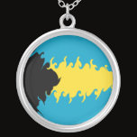 Bahamas Gnarly Flag Silver Plated Necklace