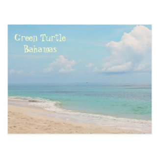 "BAHAMAS/GREEN TURTLE CAY"" DESERTED BEACH POSTCARD"