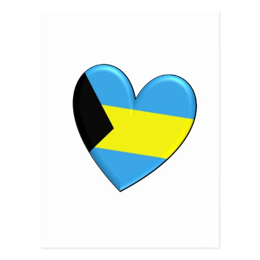 Bahamas Heart Flag Postcard
