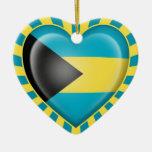 Bahamas Heart Flag with Sun Rays Christmas Tree Ornament