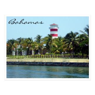 bahamas lighthouse border post card