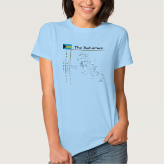 Bahamas Map + Flag + Title T-Shirt