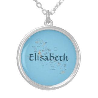 Bahamas Map + Name Necklace