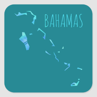 Bahamas Map Square Sticker