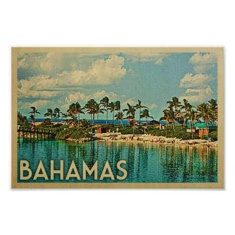 Bahamas Poster Vintage Travel Poster Beach Island