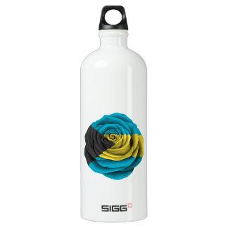 Bahamas Rose Flag on Black Aluminum Water Bottle
