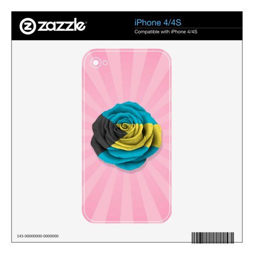 Bahamas Rose Flag on Pink Decals For iPhone 4S