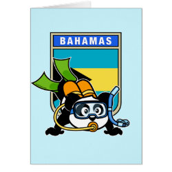 Greeting Card with Bahamas Scuba Diving Panda design